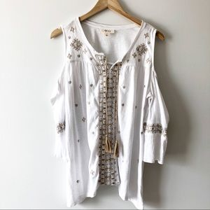 Style & Co White Cold Shoulder Top Tan Embroidery